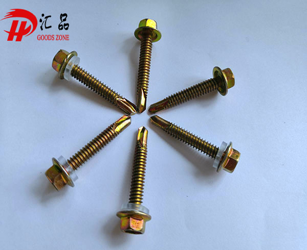 Carbon steel stable yellow zinc plated flange hexagon screw